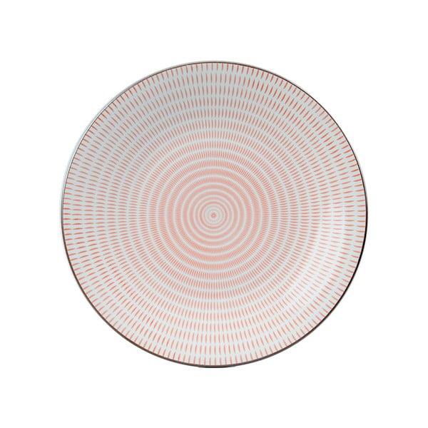 Okrągły talerz porcelanowy Pink Stripe, 28 cm