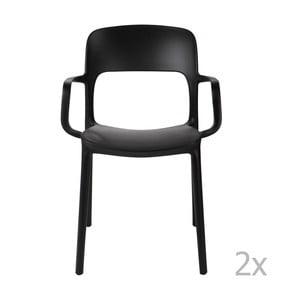 Zestaw 2 krzeseł D2 Flexi, z podłokietnikami, czarne