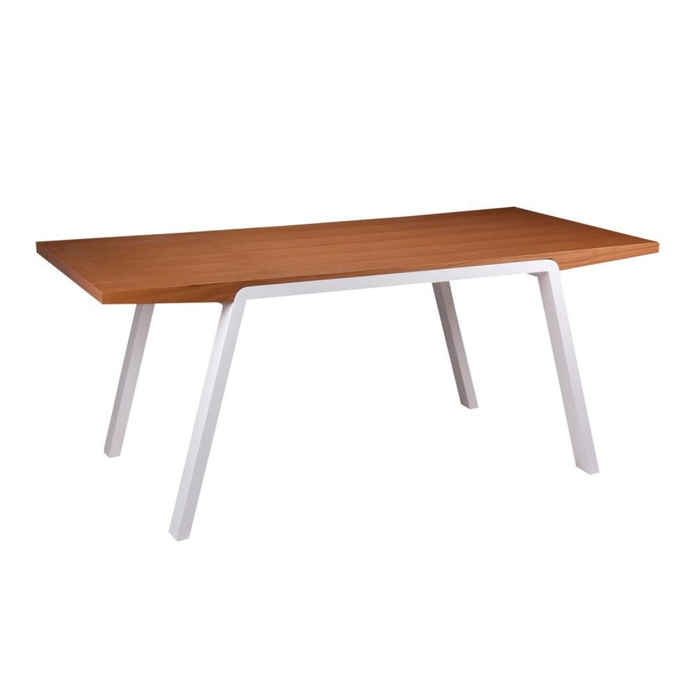 Stół w dekorze drewna dębowego z białymi nogami sømcasa Stela, 180 x 90 cm