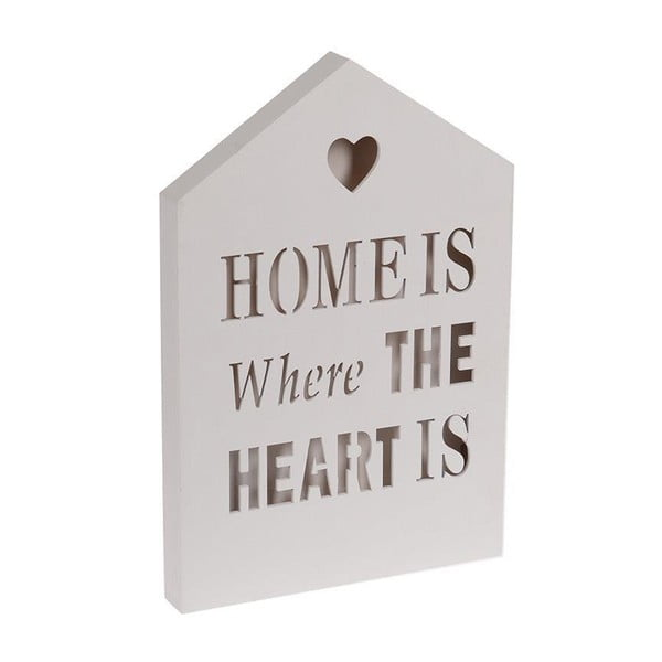 Świecąca dekoracja Home Is White, 20x30 cm