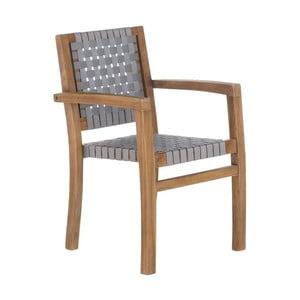 Szare krzesło ogrodowe z drewna tekowego z recyklingu SOB Garden