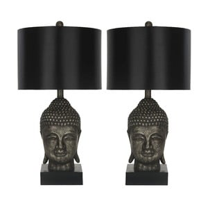 Zestaw 2 czarnych lamp stołowych Safavieh Shaw