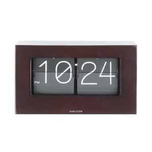 Ciemnobrązowy zegar Present Time Boxed Flip