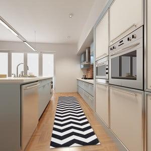 Wytrzymały dywan kuchenny Webtapetti Optical Black White,80x130cm