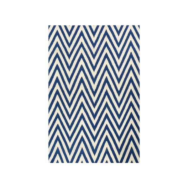 Dywan wełniany Zig Zag Dark Blue, 180x120 cm