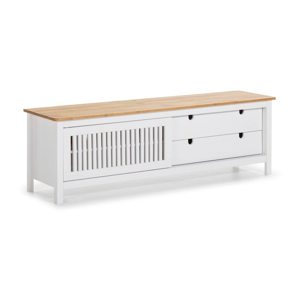 Biała drewniana szafka pod TV Marceric Bruna
