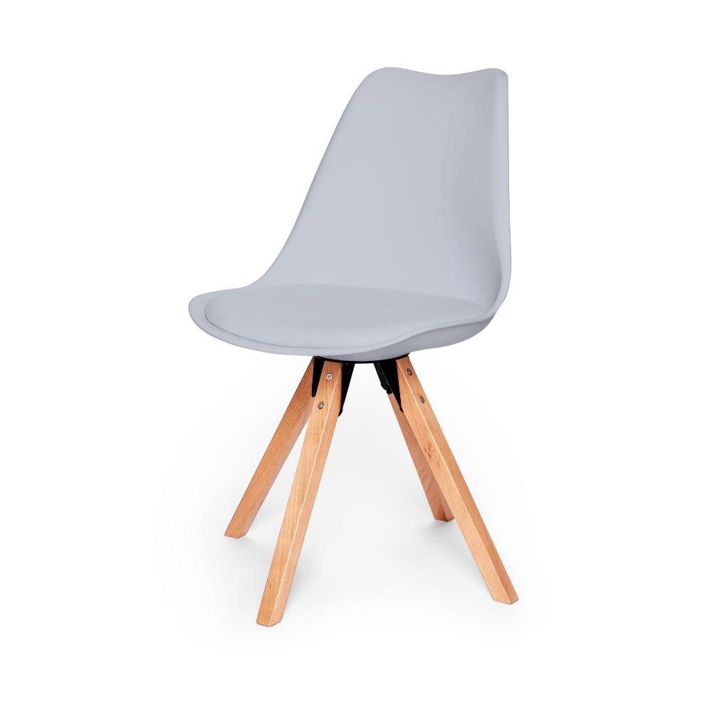 Zestaw 2 szarych krzeseł z konstrukcją z drewna bukowego loomi.design Eco