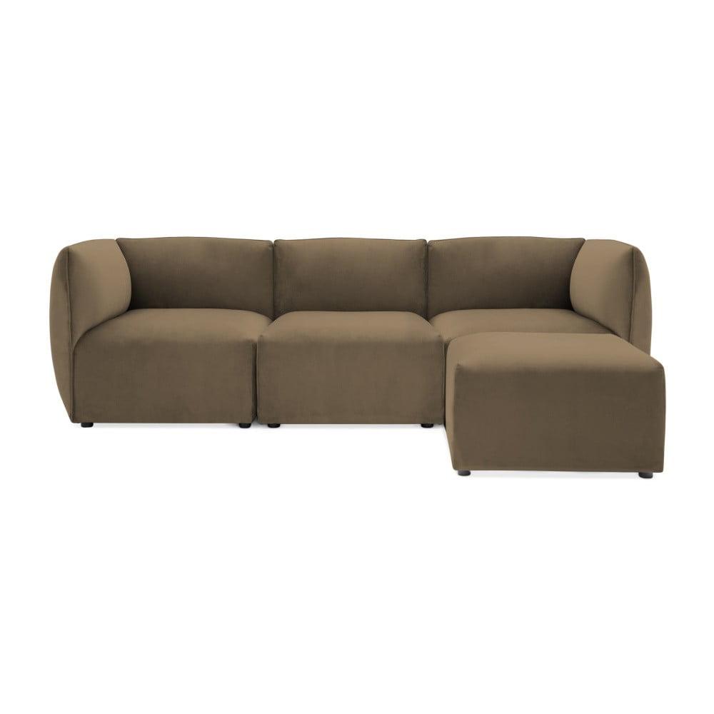 Brązowoszara 3-osobowa sofa modułowa z podnóżkiem Vivonita Velvet Cube