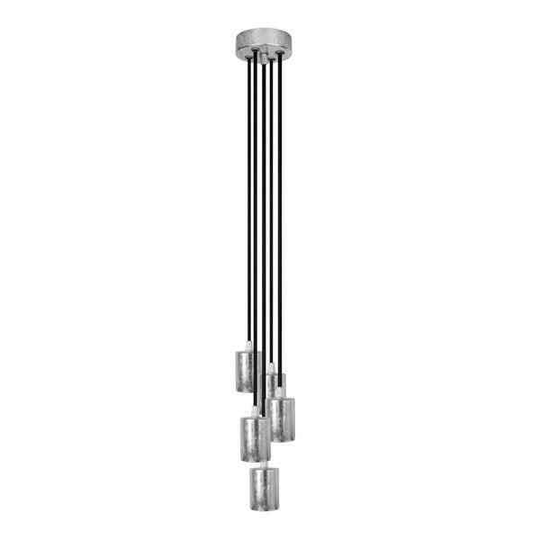 Lampa wisząca Cero, 5 kabli, srebrny/czarny/srebrny