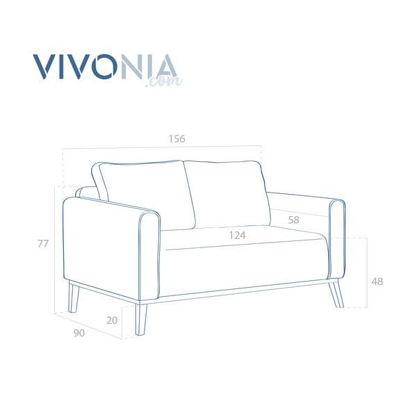Grafitowa sofa dwuosobowa VIVONITA Milton