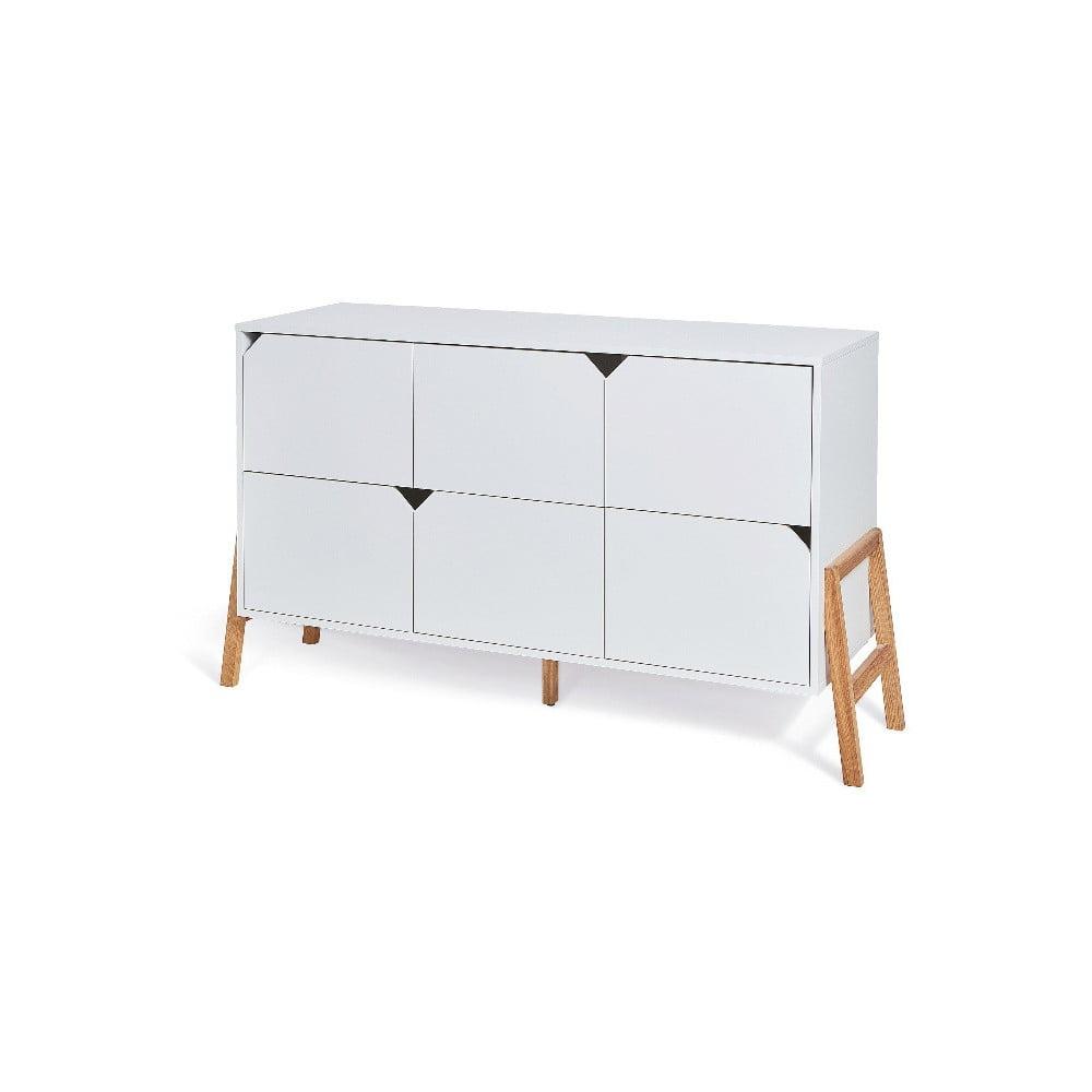 Biała komoda z 6 szufladami BELLAMY Lotta
