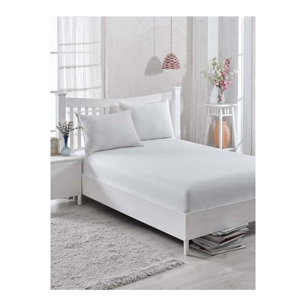 Białe bawełniane prześcieradło Simplicity, 160x200 cm