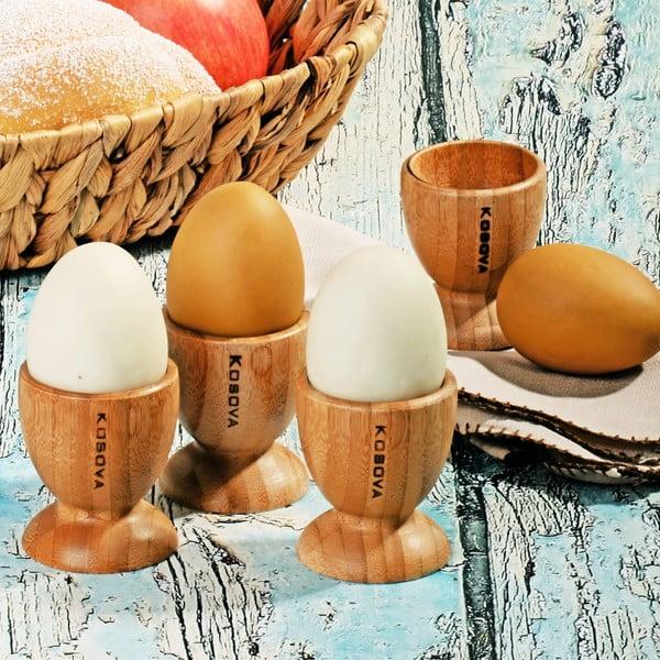 Zestaw 4 bambusowych kieliszków na jajka Bamboo