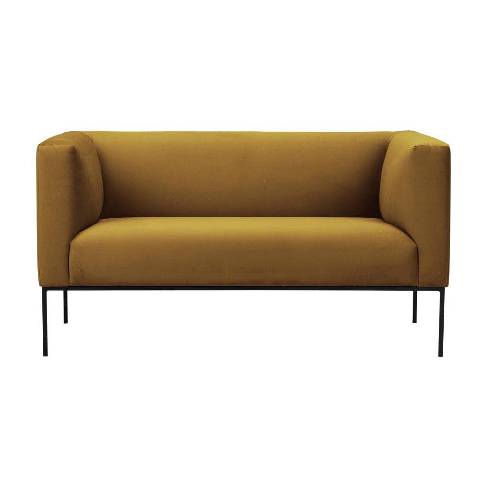 Żółta aksamitna 2-osobowa sofa Windsor & Co Sofas Neptune