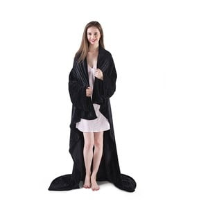 Czarny koc z rękawami DecoKing Lazy, 180x150cm