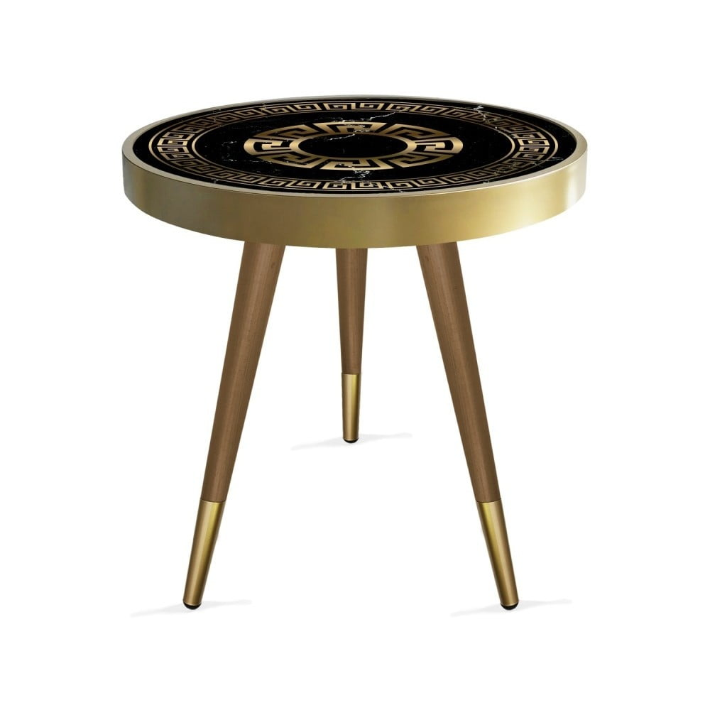 Stolik Rassino Marble Black And Gold Circle, ⌀ 45 cm