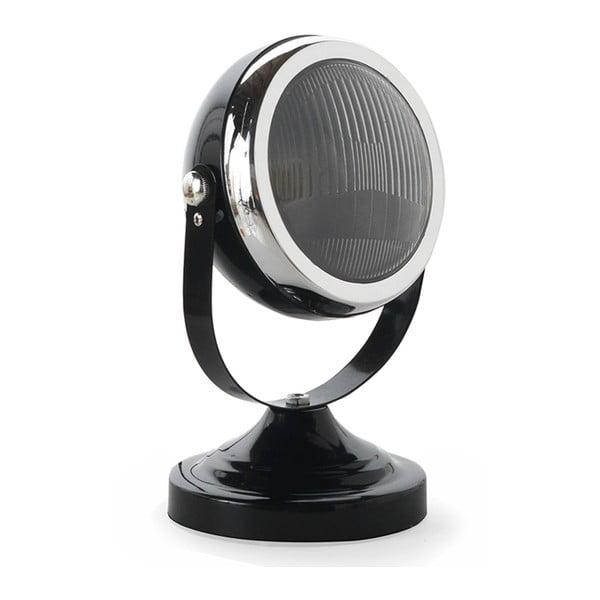 Czarna lampa stołowa z elementami w kolorze srebra Geese Mic