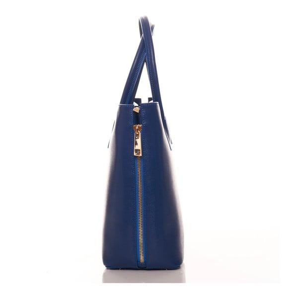 Niebieska torebka skórzana Federica Bassi Saffiano