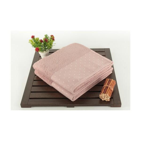 Zestaw 2 jasnoróżowych ręczników bawełnianych Patricia, 50x90 cm