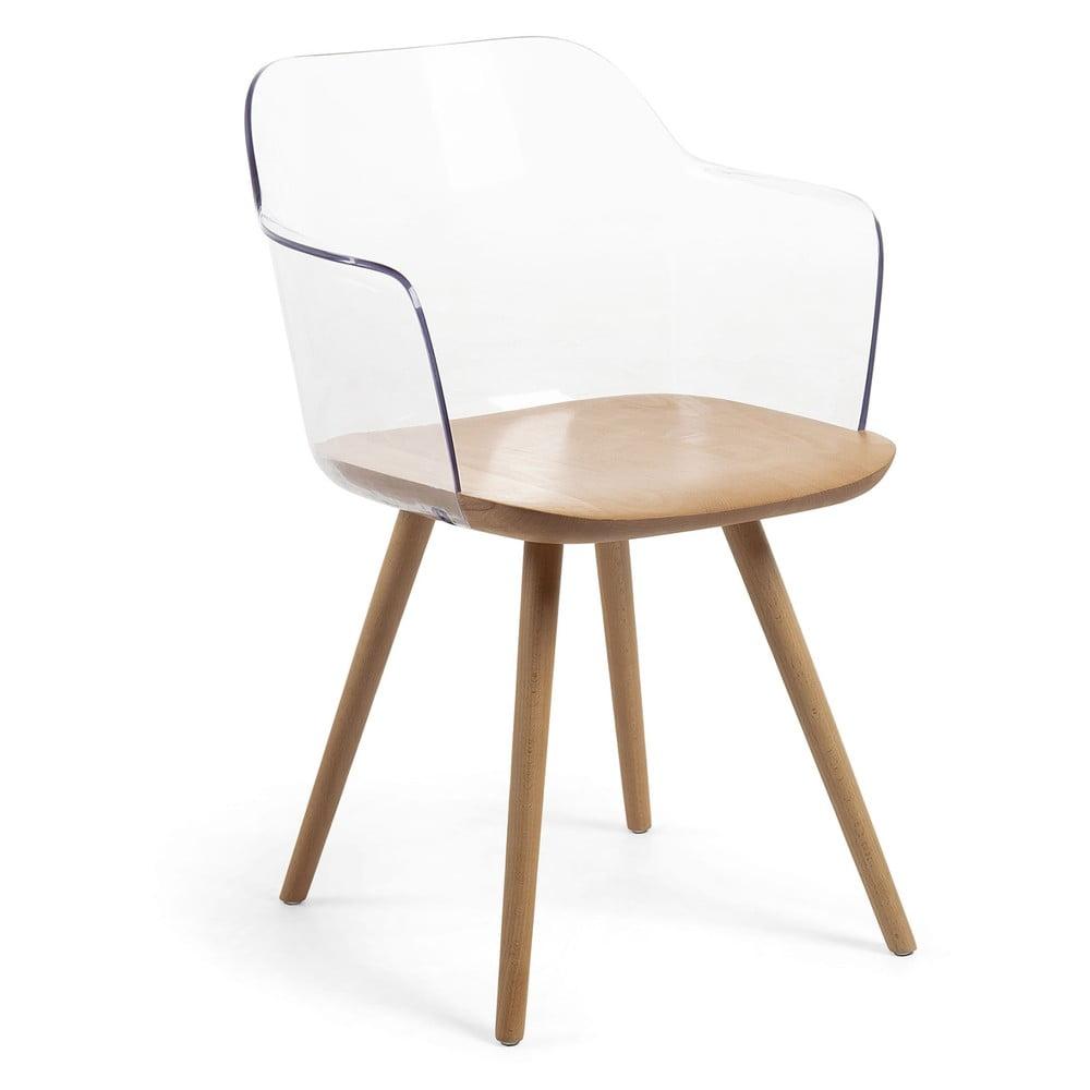 Fotel z nogami z drewna bukowego La Forma Klam