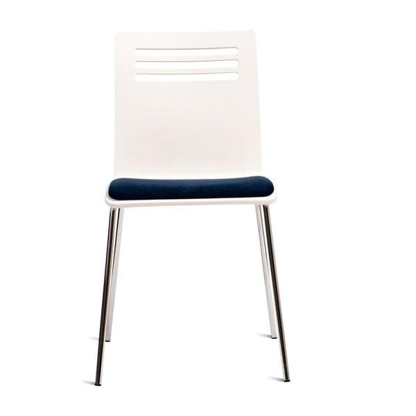 Białe krzesło z siedziskiem z drewna bukowego Charlie Pommier Comfort