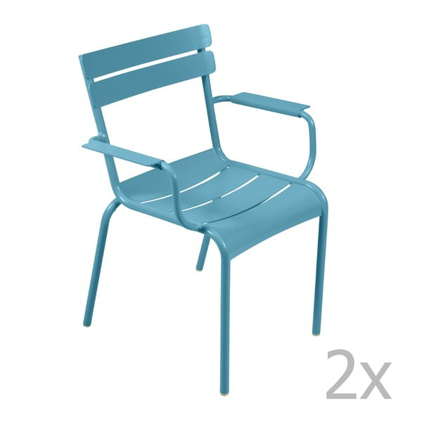 Zestaw 2 turkusowych krzeseł z podłokietnikami Fermob Luxembourg