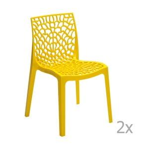 Zestaw 2 żółtych krzeseł Castagnetti Apollonia