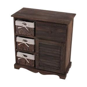 Brązowa komoda z koszykami i szufladą Mendler Shabby