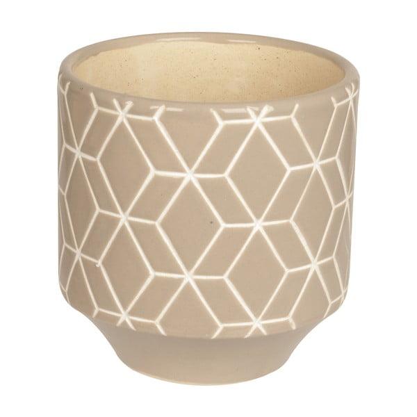 Doniczka ceramiczna Present Time Hexagon Grey, mała