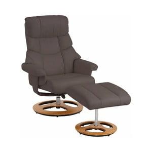 Ciemnobrązowy fotel z podnóżkiem Støraa Tony