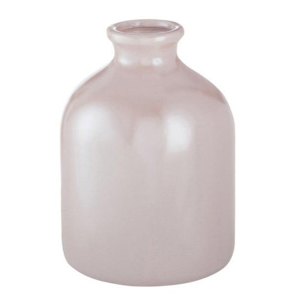 Różowy wazon kamionkowy J-Line, 13x13x17 cm
