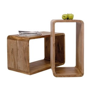 Zestaw 2 półek z drewna sheesham Kare Design Cuben Rectangular