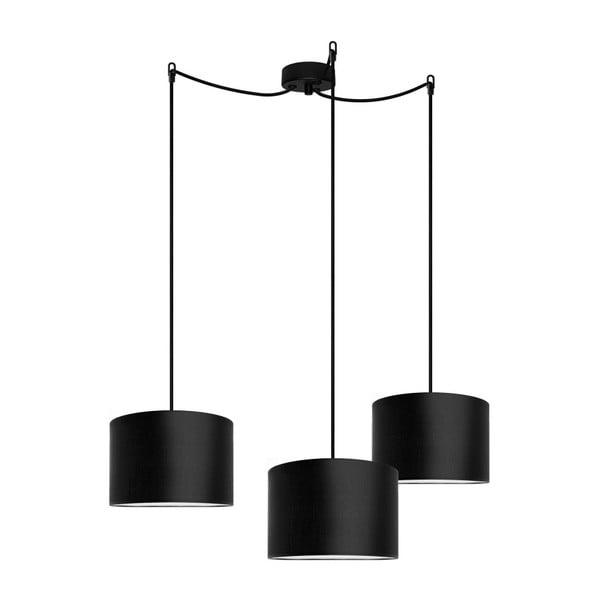 Czarna potrójna lampa wisząca Bulb Attack Tres,⌀25cm