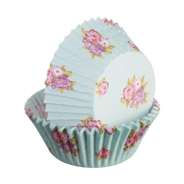 Zestaw 75 foremek do ciastek Floral, jasnoniebieskie