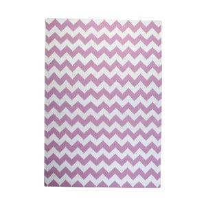 Dywan wełniany Geometry Zic Zac Pink & White, 160x230 cm