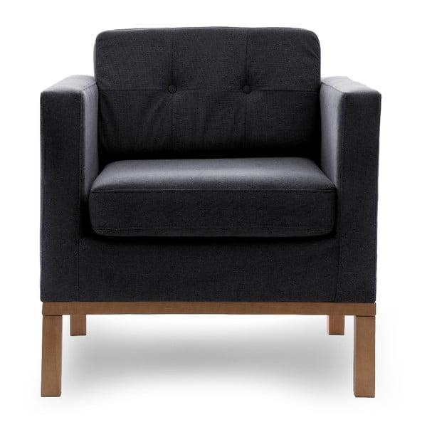 Ciemnoszary fotel z naturalnymi nogami VIVONITA Jane
