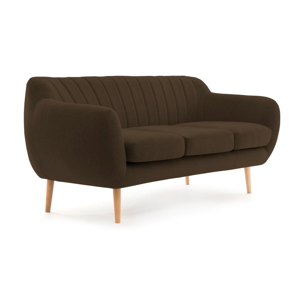 Ciemnobrązowa sofa 3-osobowa z naturalnymi nogami VIVONITA Kennet