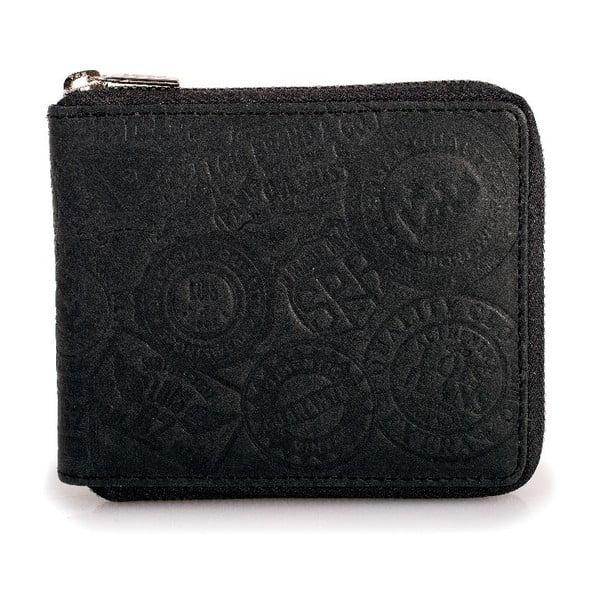 Skórzany portfel Lois Black, 10,5x8,5 cm