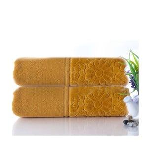 Zestaw 2 ręczników Samba Mustard, 50x90 cm