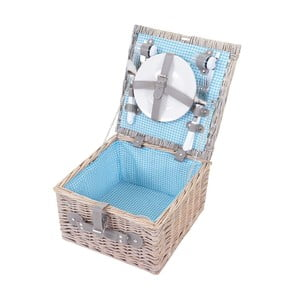 Wiklinowy kosz piknikowy z zestawem dla 2 osób Mendler Shabby Wicker