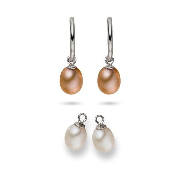 Kolczyki Yamato Pearls z wymienianymi zawieszkami Nude Beauty