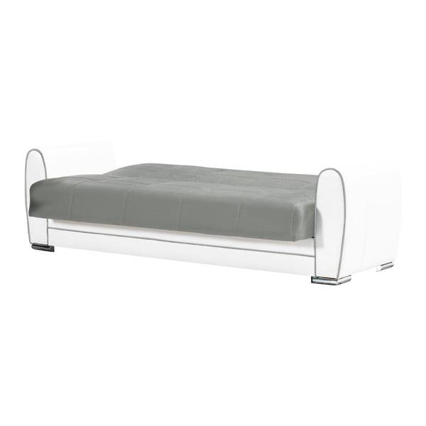 Szaro-kremowa dwuosobowa sofa rozkładana ze schowkiem Esidra Rest