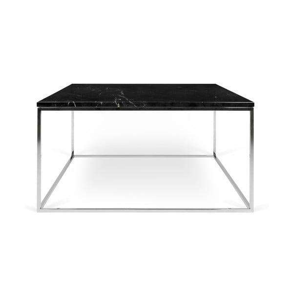 Czarny stolik marmurowy z chromowanymi nogami TemaHome Gleam, dł. 75 cm