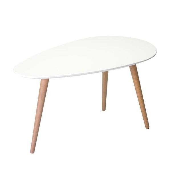 Biały stolik z nogami z drewna bukowego Furnhouse Fly, 75x43 cm