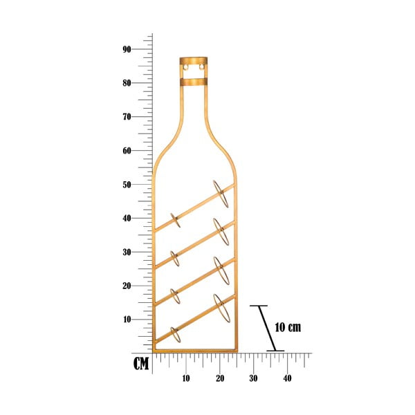 Uchwyt ścienny na butelki w złotej barwie Mauro Ferretti Marcello, 25x87 cm