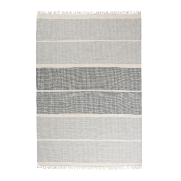 Niebieski dywan wełniany ręcznie tkany Linie Design Reita, 140x200cm