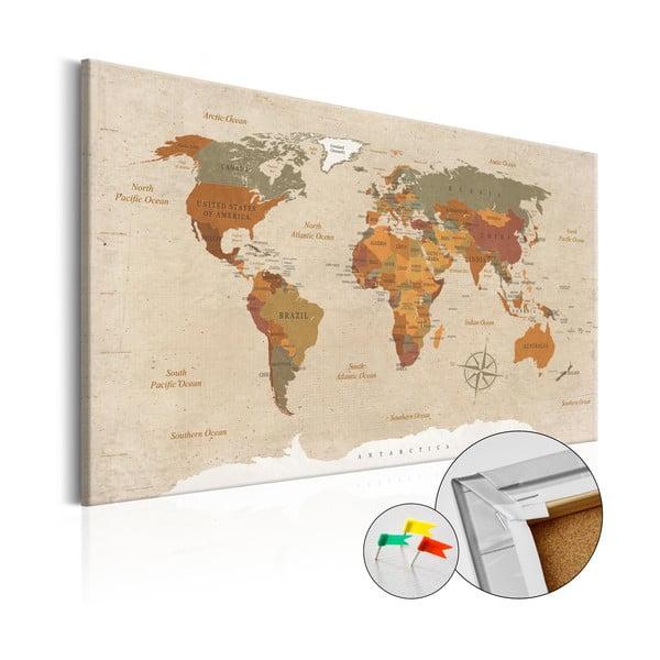 Tablica z mapą świata Bimago Beige Chic 90x60 cm