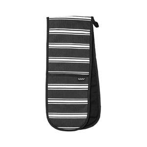 Czarna podwójna rękawica kuchenna Ladelle Butcher Stripe
