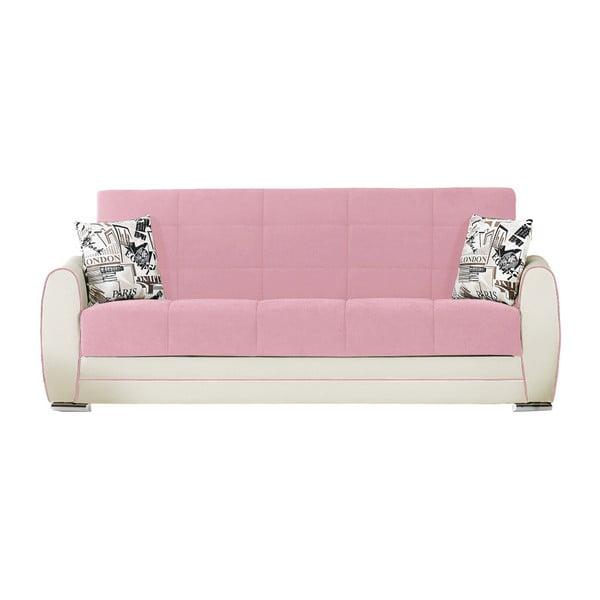 Kremowo-różowa trzyosobowa sofa rozkładana ze schowkiem Esidra Rest
