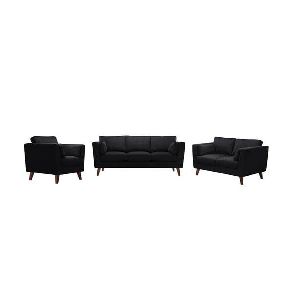 Zestaw fotela i 2 sof dwuosobowej i trzyosobowej Elisa, czarne